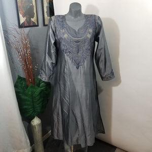 Vintage Silver Grey Tunic Silk Size M/L